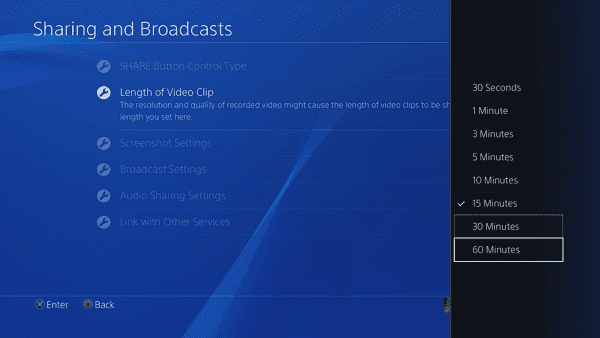 Set up Video Recording Length on PS4