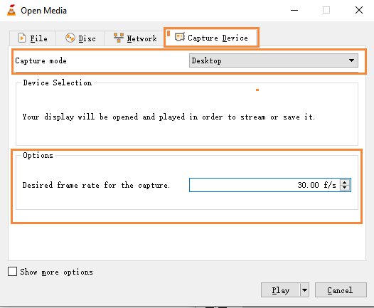 Capture Mode in VLC