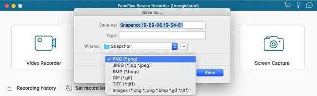 Save Snapshot on Mac