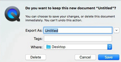 QuickTime Screen Recording File Saving