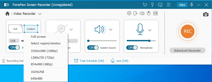 Select Recording Area