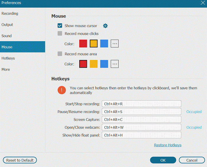 Mouse Settings on FonePaw Recorder