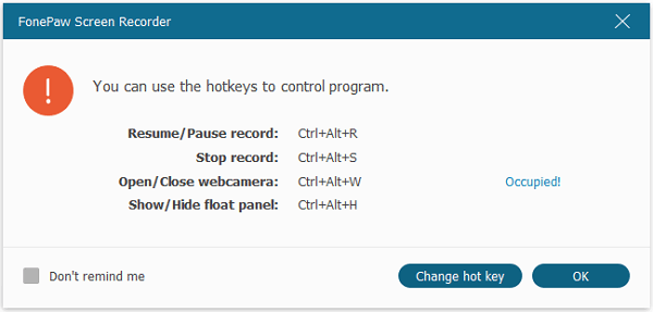 Notification of Recording with Hotkeys