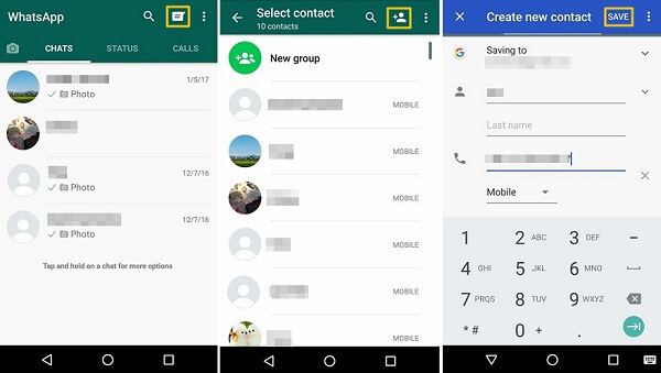 Add Contacts in WhatsApp