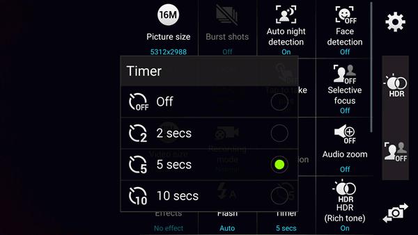Turn on Camera Timer