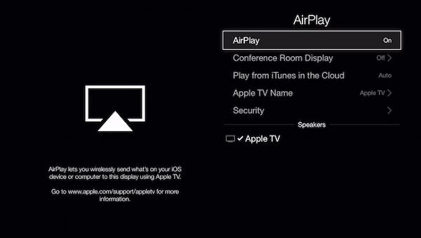Apple TV Turn on AirPlay