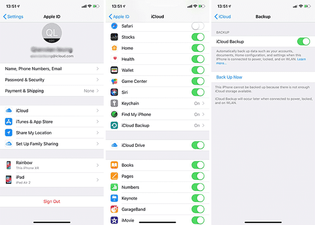 Back up Data to iCloud