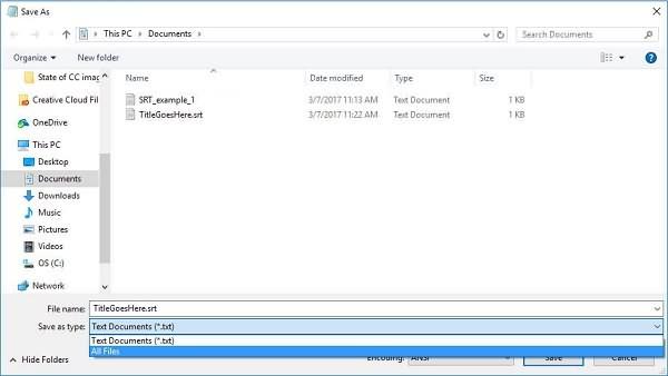 Create SRT File