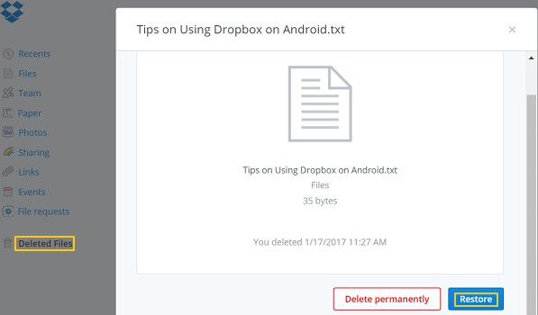 Restore Deleted Files From Dropbox