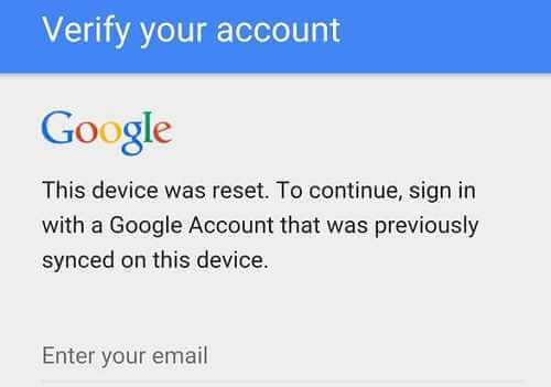 Factory Reset Protection Page