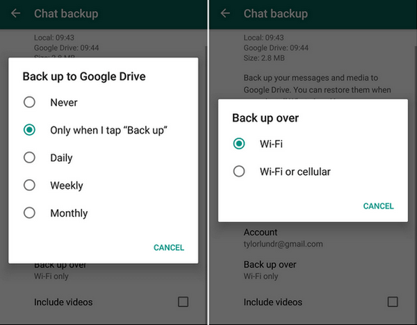 Google Drive Backup Settings