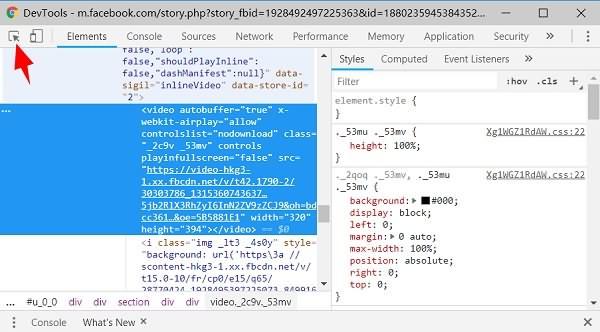 Inspect Private Facebook Videos in Developer Tools