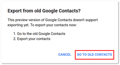 Go to Old Google Contacts