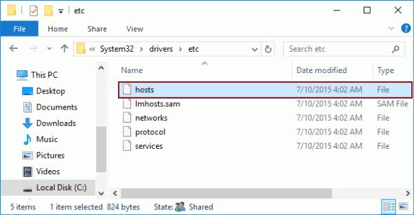 Open Host File