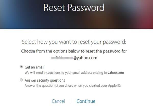 Reset iCloud Password via Email