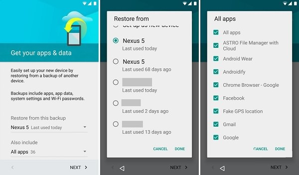 Restore Backup from Android