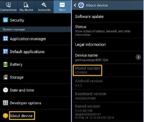 Samsung S3 Check Model Number