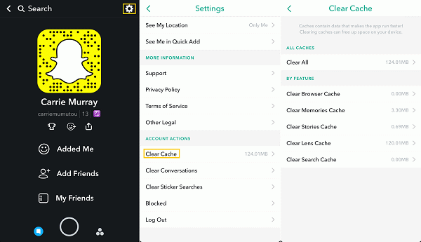 Snapchat Clear Cache