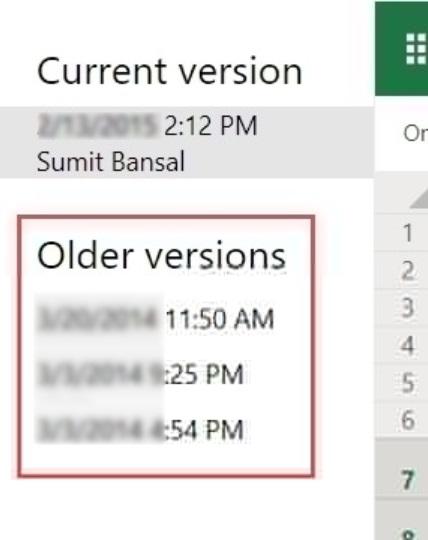 OneDrive恢復Excel檔