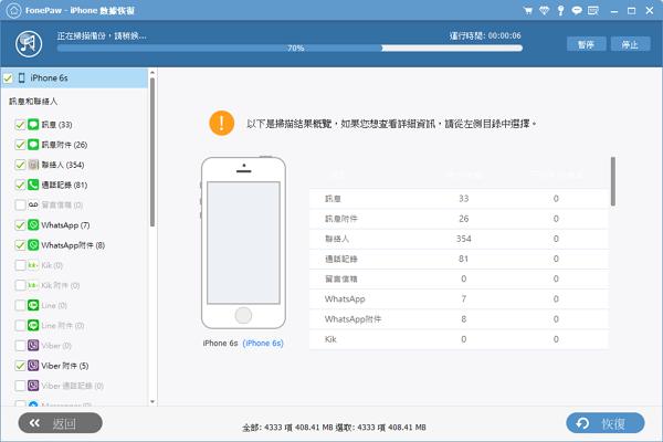 FonePaw 掃描讀取 iTunes 備份檔
