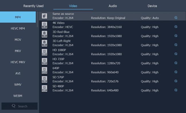 Choose MP4 Format