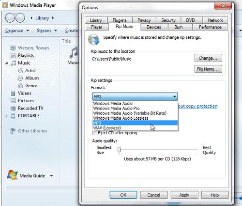 Windows Media Player Rip Music
