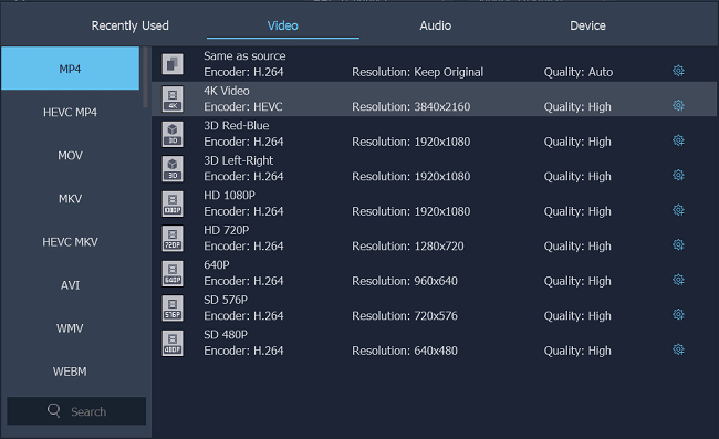 Select 4K as Output Format