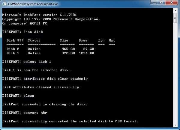 Convert Drive to MBR Format