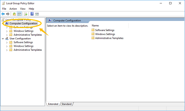 Computer Configuration on Group Policy Editor