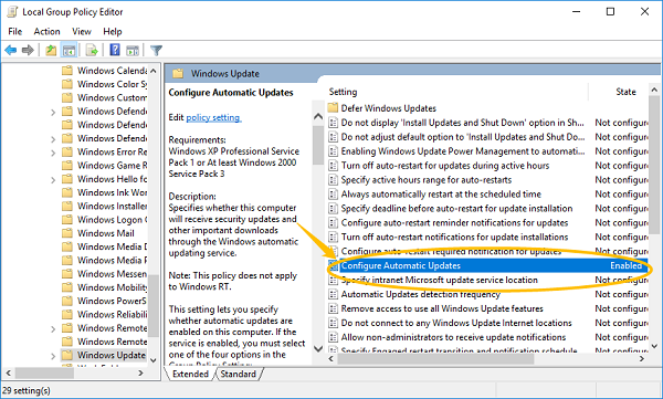 Configure Windows Update on Group Policy Editor