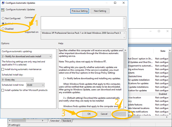 Disable Automatic Update on Group Policy Editor