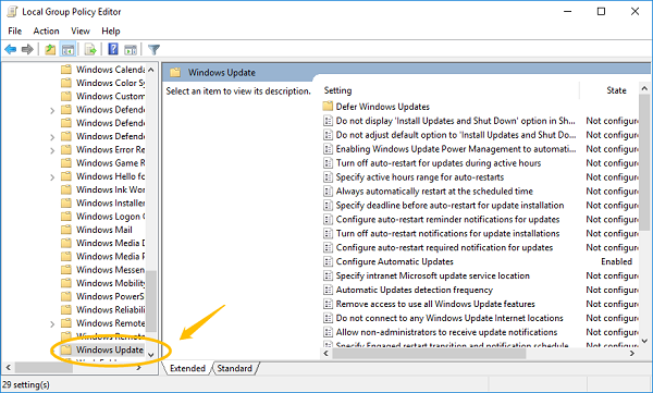 Windows Update on Group Policy Editor