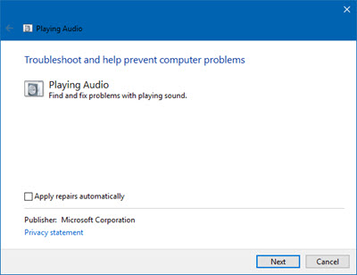Playing Audio Troubleshooter on Windows 10