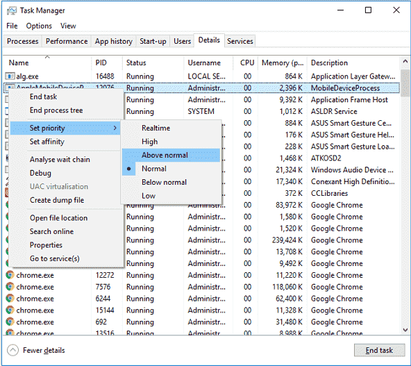 Set Higher Priority for CPU